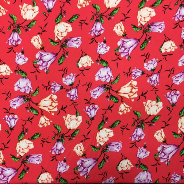 Lightweight 100% Viscose - Lilac & Peach Blooms - Coral