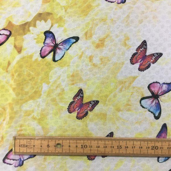 Lightweight Sheer Woven Polyester - Roses & Butterflies - Lemon