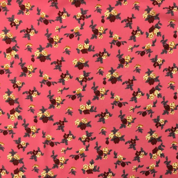 Lightweight 100% Viscose - Mini Floral Blooms - Coral