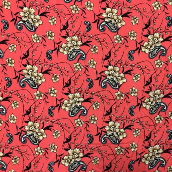 Lightweight 100% Viscose - Paisley Floral on Coral