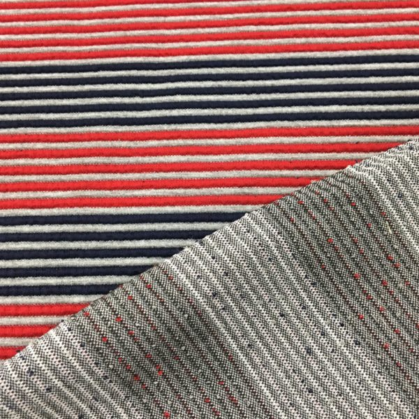 Raised Stripe Textured Knit Stretch Fabric - Red/Grey/Navy