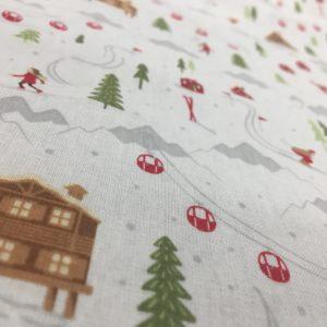 100% Cotton Christmas Prints - Winter Chalet - White