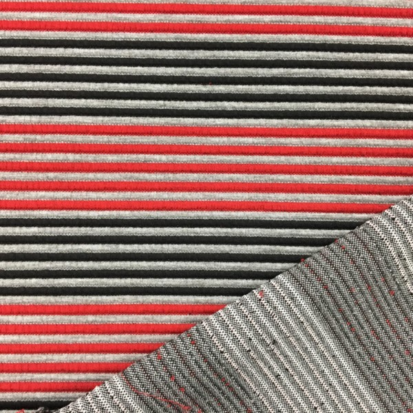 Raised Stripe Textured Knit Stretch Fabric - Red/Grey/Black