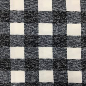 Brushed Back Checked Knit Fabric - Cream/Navy