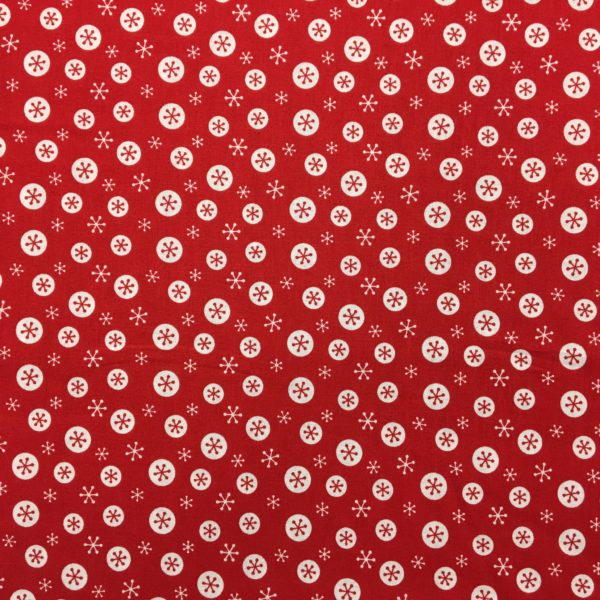 100% Cotton Christmas Prints - White Snowflakes on Red