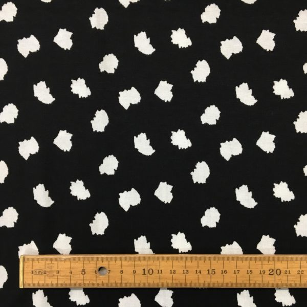 100% Cotton Interlock Jersey - White Splodges on Black
