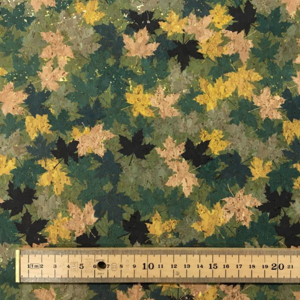 Printed Cork Effect Vinyl Fabric - Maple Leaf with Gold Metallic - Forest