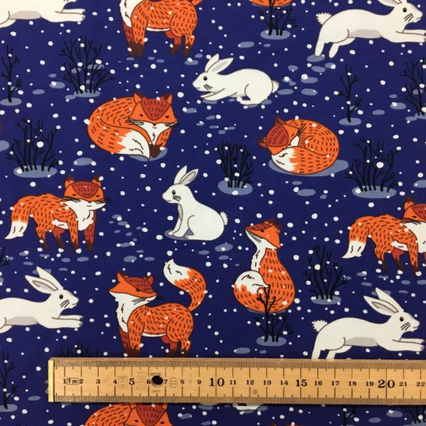 Cotton Spandex Jersey – Fox and Rabbit in the Snow - Midnight Blue