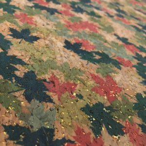 Printed Cork Effect Vinyl Fabric - Maple Leaf with Gold Metallic - Autumn