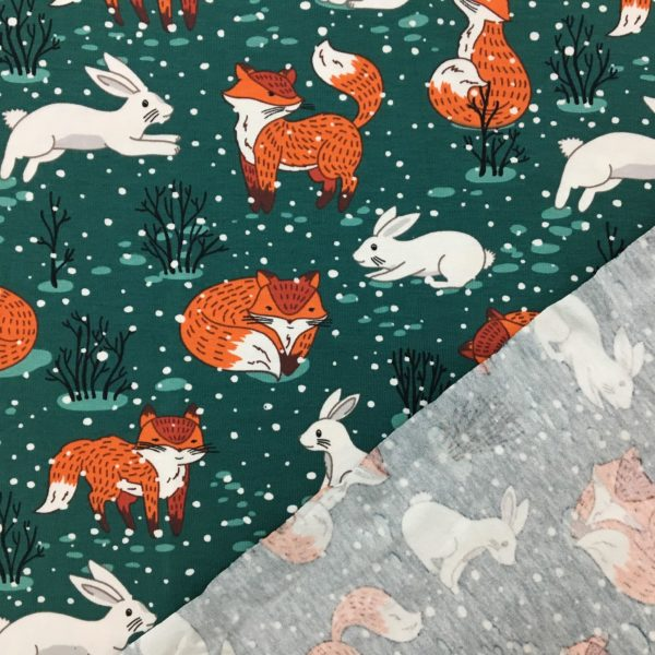Cotton Spandex Jersey – Fox and Rabbit in the Snow - Forest Green