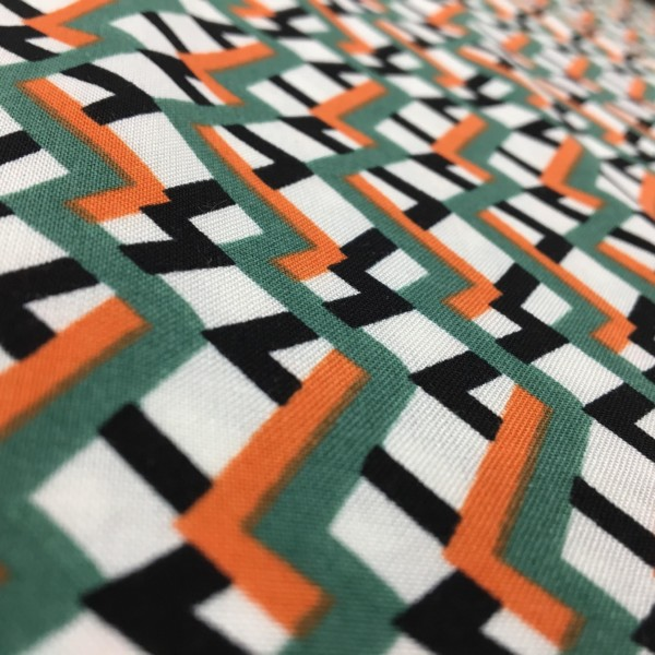 Lightweight Woven 100% Viscose - Trellis - Green/Orange