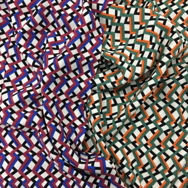 Lightweight Woven 100% Viscose - Trellis - Blue/Purple