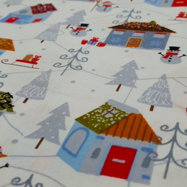 100% Cotton Christmas Prints - Festive Houses on White
