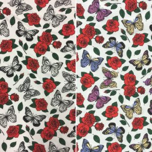 Light Reactive Jersey Fabric - Roses and Butterflies