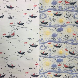 Light Reactive Jersey Fabric - Boats on the Sea
