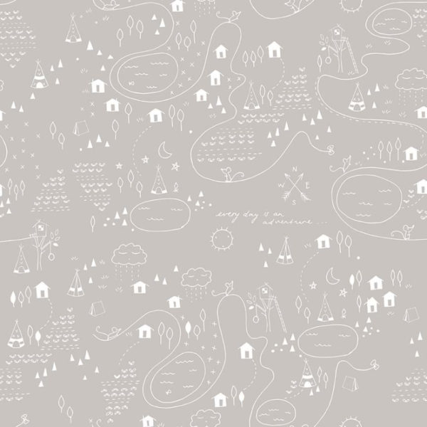 Riley Blake 100% Cotton: Adventure Map Grey