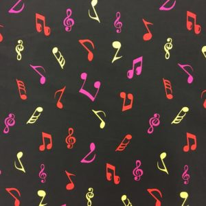 Rose & Hubble 100% Cotton Musical Notes Print - Yellow/Pink/Red on Black