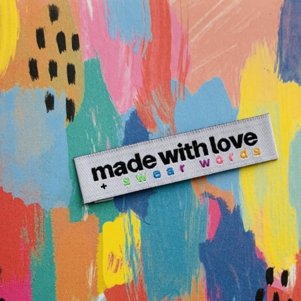Pack of 8 Woven Sewing Labels by Kylie and the Machine - Handmade With Love + Swear Words