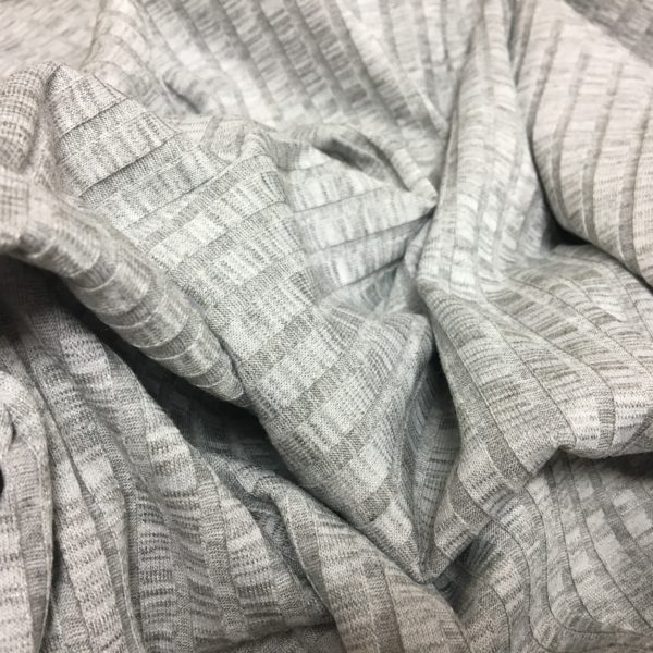 Slinky Stretch Ribbed Knitted Dressmaking Fabric - Grey