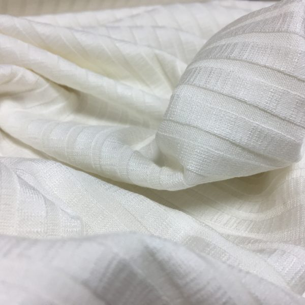 Slinky Stretch Ribbed Knitted Dressmaking Fabric - Ivory