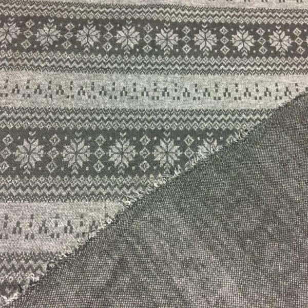 Mock Fairisle Double Knit Fabric - Grey/Black
