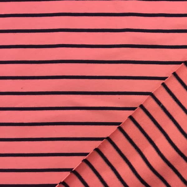 Yarn Dyed Striped French Terry Sweatshirting - Pink/Navy