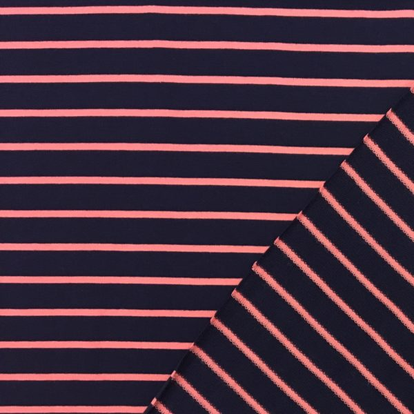 Yarn Dyed Striped French Terry Sweatshirting - Navy/Pink