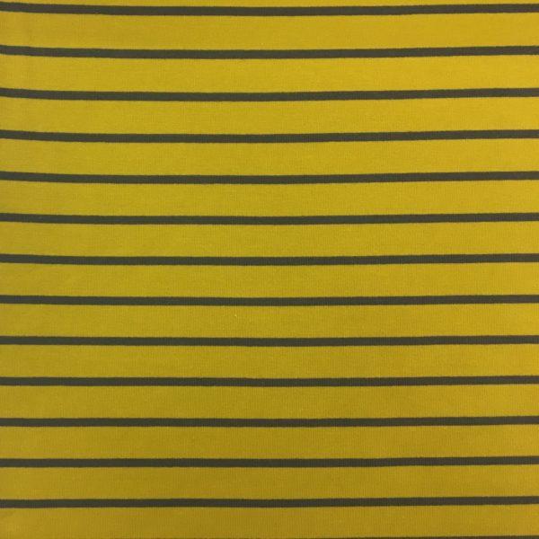 Yarn Dyed Striped French Terry Sweatshirting - Yellow/Grey