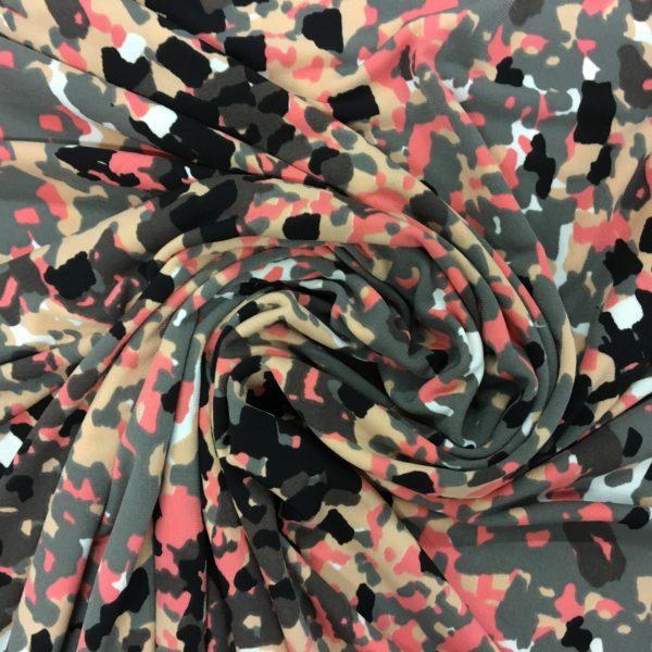 Single Knit Lycra Jersey - Coral /Black/Grey Fusion