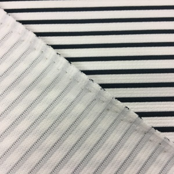 Poly Spandex Textured Jersey - Black & White Stripe