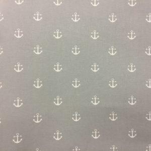 Fryetts Fabrics 100% Cotton Canvas - Anchors Away - Dove Grey