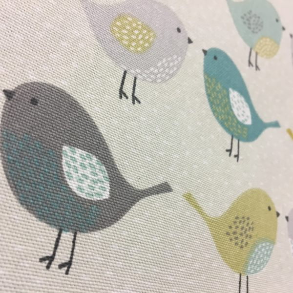 Fryetts Fabrics 100% Cotton Canvas - Birds - Ochre/Teal