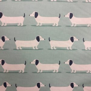 Fryetts Fabrics 100% Cotton Canvas - Hound Dogs - Duck Egg
