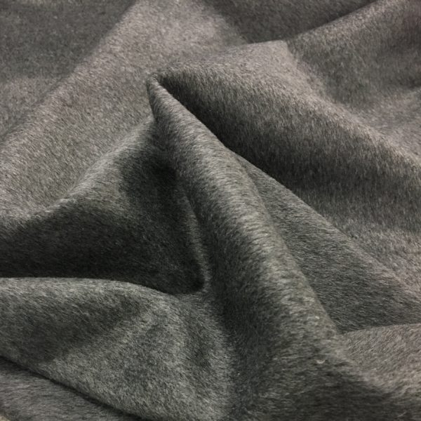 Short Pile Wool Mix Coat/Outerwear Fabric - Charcoal