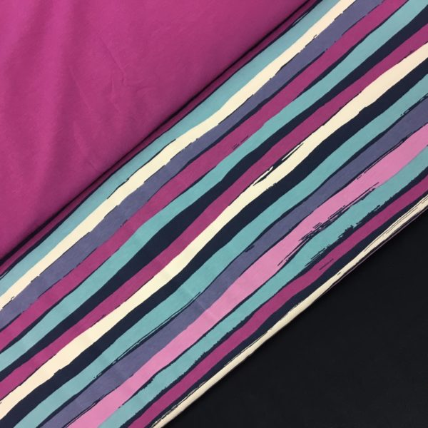 Stof of Denmark Avalana Jersey - Navy/Aqua/Cerise Irregular Stripe