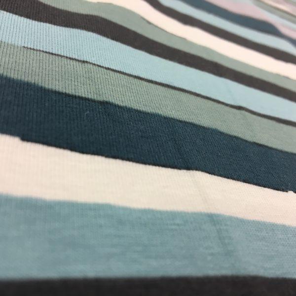 Stof of Denmark Avalana Jersey - Blue/Aqua/Cream Irregular Stripe