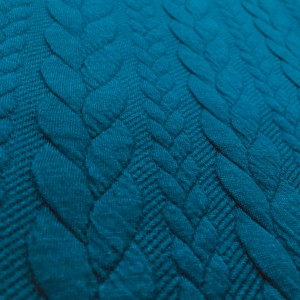 Cable Knit Cloque Jersey - Petrol Blue