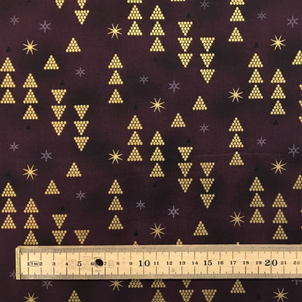 100% Cotton Christmas Prints - Stoffabrics 'Starlight' - Claret Trees and Snowflakes