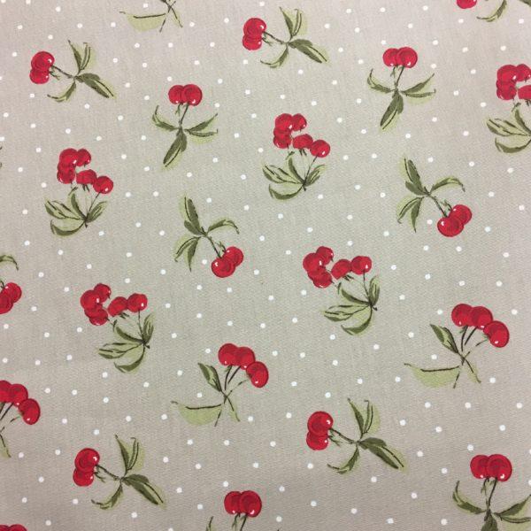 Studio G 100% Cotton Canvas - Cherries - Taupe