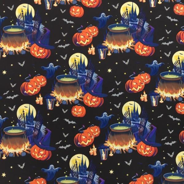 100% Cotton Halloween Prints - Spooky Pumpkins and Cauldrons