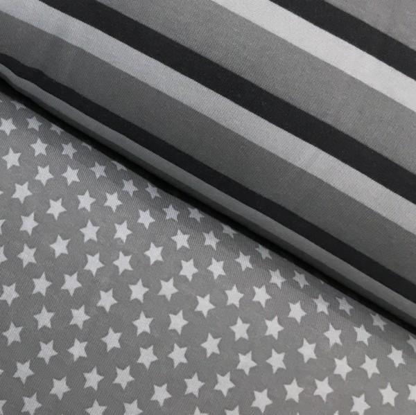 Fleece Back Sweatshirt Jersey - Stars - Grey