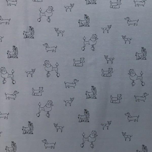 Cotton Spandex Jersey - Show Dogs - Pale Blue