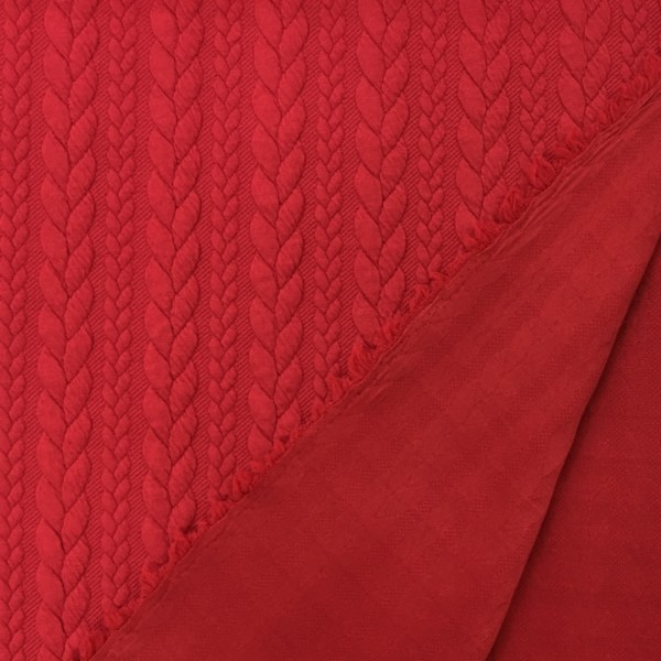 Cable Knit Cloque Jersey - Red