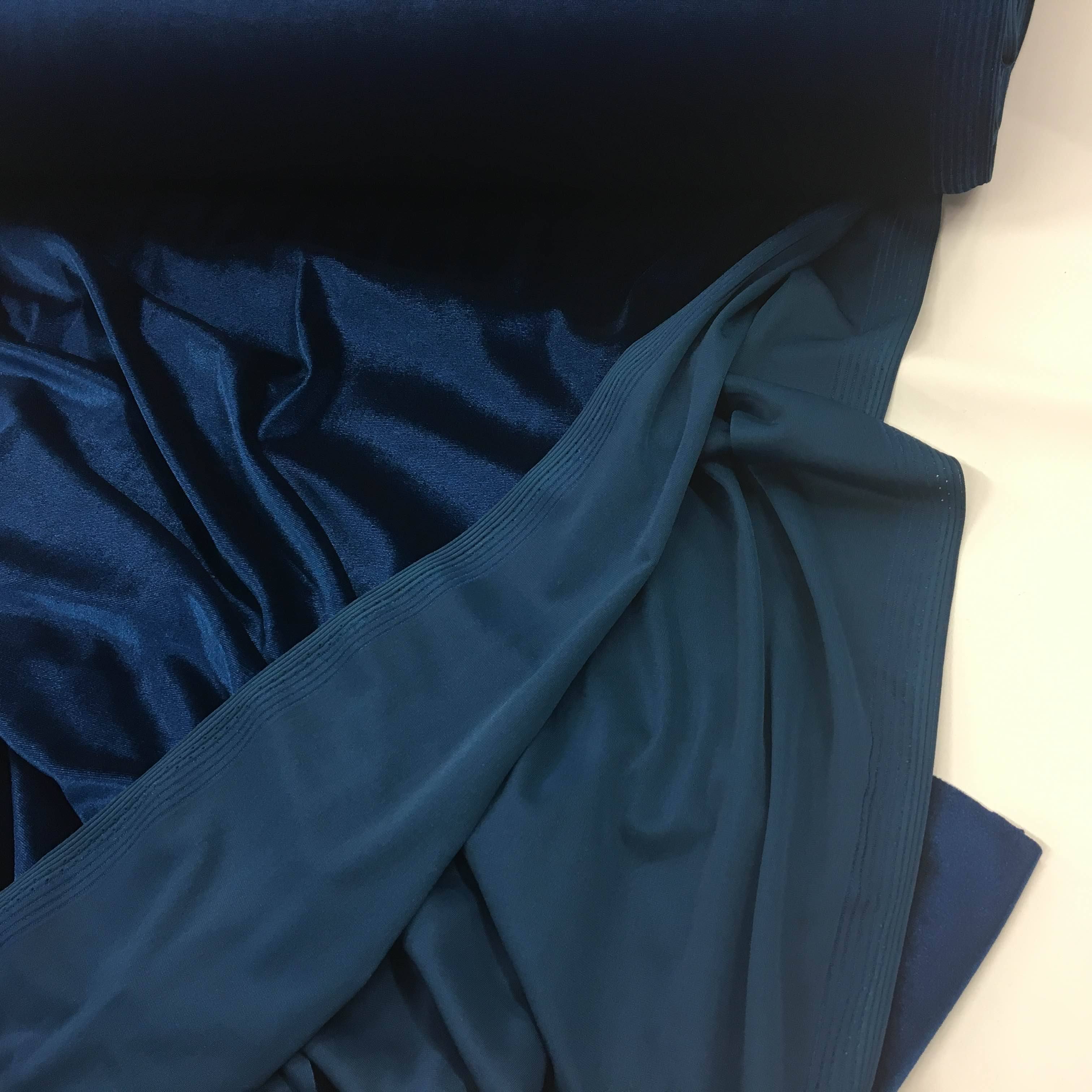 Stretch Cotton Fabric Dressmaking Rich Peacock French Cotton Jersey Plain