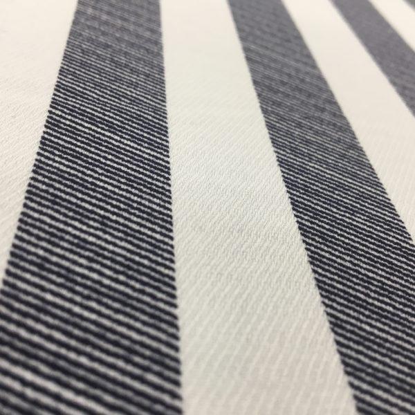 Herringbone Stripe Lightweight Polyester - White/Denim