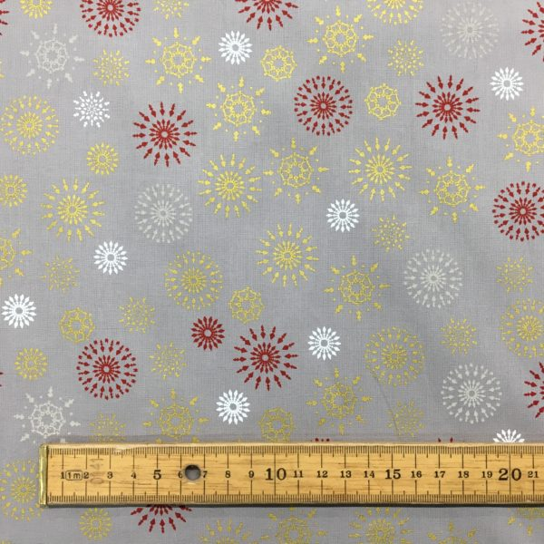 100% Cotton Christmas Prints - Starburst Metallic Snowflakes
