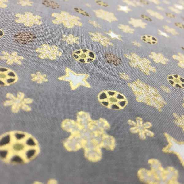 100% Cotton Christmas Prints - Metallic Snowflakes - Gold on Warm Grey
