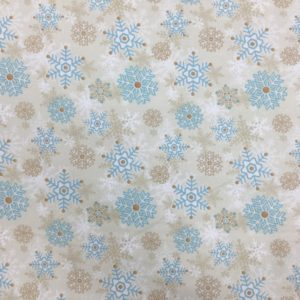 100% Cotton Flannel - 'I Still Love Snow' by Henry Glass & Co - Ecru Snowflakes