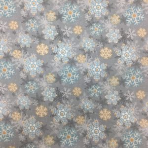 100% Cotton Flannel - 'I Still Love Snow' by Henry Glass & Co - Grey Snowflakes