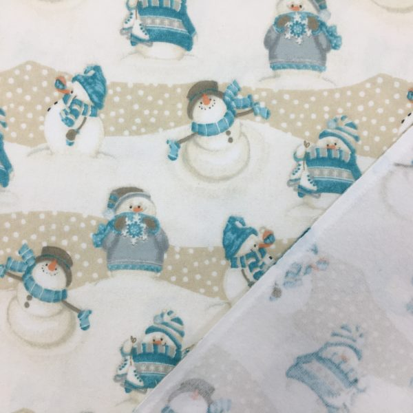 100% Cotton Flannel - 'I Still Love Snow' by Henry Glass & Co - Ecru/White Snowmen